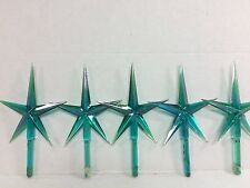 Ceramic Christmas tree star toppers bright aqua lot of 5