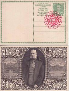 Österreich 1908  Ganzsache Kaiser Franz Joseph roter Stempel ZADAR sehr selten