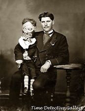 Ventriloquist with a Creepy Dummy - Historic Photo Print