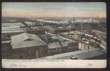 POSTCARD RICHMOND VA/VIRGINIA JAMES RIVER WAREHOUSE ARE BIRD'S EYE AERIAL 1905