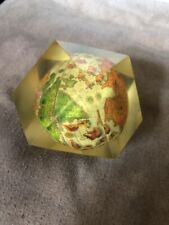 Vintage Lucite or Acrylic Multi Sided Plastic Paperweight With Internal Globe