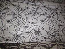 "Halloween Black Spiderwebs Spiders  Lace Door or Tablecloth Oblong 48"" X 96"""