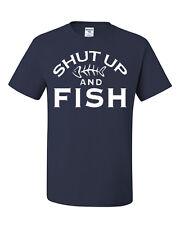 Shut Up And Fish Funny T-Shirt Fishing Gift Tee Shirt Hobby Camping Bass Catfish