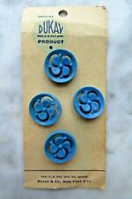 """VINTAGE BUTTONS ON CARD 4 FASHION FLORAL BLUE ROUND 7/8"""" SIZE by DUKAY"""