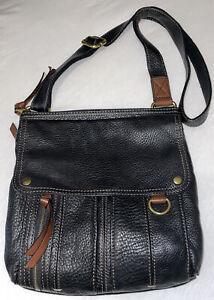 FOSSIL Morgan Traveler Black Leather Crossbody Shoulder Purse Messenger Bag