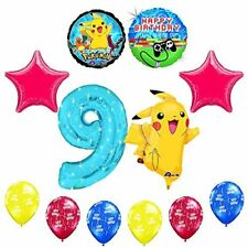 "NEW! 12 pc Pokemon Go ""You've Leveled Up"" 9th Happy Birthday Balloon Supplies"