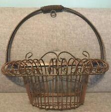Vintage Metal Wall Basket Ornate Flower Planter Holder Wire Metal Window