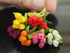 6 Pcs Miniature Colorful Tulip Flowers Home Decorative Clay Handmade Collectible