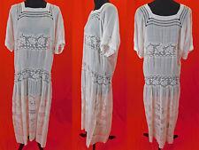 New listing Vintage 20s White Cotton Batiste Filet Lace Roses Drawn Cutwork Drop Waist Dress