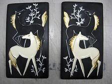 PAIR OF TWO 2 VINTAGE NAPCO CERAMIC HORSE PLAQUES WALL HANGINGS BLACK WHITE GOLD