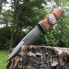 "9"" FIXED BLADE Historical Scottish KNIFE Dagger Brown Scabbard + SHEATH"