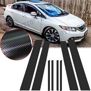 Carbon Fiber Door Window Pillar Trim Overlay Decals For Honda Civic Sedan 12-15