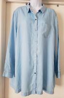 J. Jill Blouse Top Size XL NEW Long Tunic Sky Blue Button Front Very Soft Tencel
