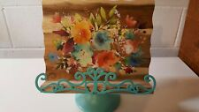 Pioneer Woman Cookbook Holder Kitchen Stand Teal Flowers Tiffany Blue