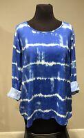 Lands' End Women's Plus Sz 2X Nylon Tye Dye Pattern Long Sleeve Top Active