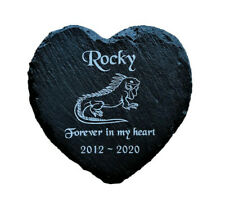 Personalised Engraved Slate Heart Pet Memorial Grave Marker Plaque Lizard Iguana