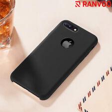 Liquid Silicone Case Rubber Slim Cushion TPU Black Back Cover for iPhone 7 Plus