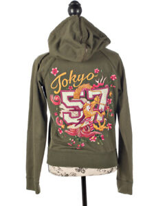 Lucky Brand Cotton Green Embroidered Tokyo 57 Dragon Hoodie Jacket Size XS