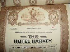Hotel Harvey $100 Bond Stock Certificate Chicago Illinois