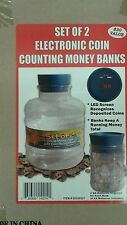 Electronic Coin Counting Money Bank - Set of 2 BLUE Plastic Jugs
