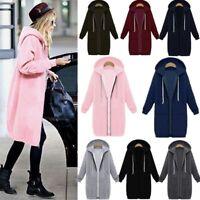 Plus Size Womens Long Sleeve Zip Up Hooded Hoodies Coat Winter Sport Gym Jacket