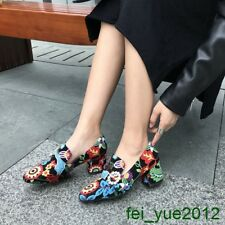 Women Round Toe Block Heel Pearl Floral Embroidery Slip on Multi Color Pump Shoe
