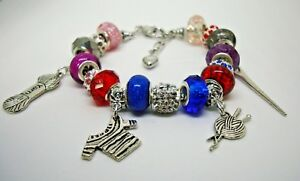 Purl Stitch European Murano beads knitting needle yarn sweater charms bracelet