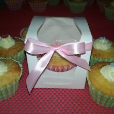 15 Pcs Cup Cake box with PVC window, inc Cup Cake inserts and Pink ribbon