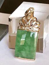Large Green Jade 1/4 Carat Diamond In 18k Gold Pendant