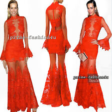 Jonathan Simkhai Collection Delicate Guipure lace Dress Gown in Red