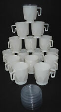 50 white plastic 250ml rigid polystyrene cups. Hot/Cold reuseable +20 lids free!
