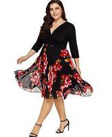 Damen Chiffon Sommerkleid Cocktailkleid Kleid Mollige Übergröße Partykleid BC758