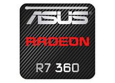 "Asus Radeon R7 360 1""x1"" Chrome Effect Domed Case Badge / Sticker Logo"