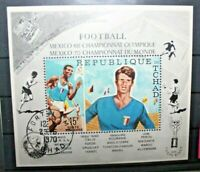 "FRANCOBOLLI CIAD CHAD  1970 ""OLIMPIADI FOOTBALL"" TIMBRATO USED BLOCK (CAT.9)"
