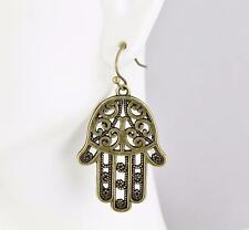 "Bronze hamsa earrings metal filigree earrings dangle 1.75"" long hand of fatima"