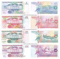 Suriname 5 + 10 + 25 + 100 Gulden 1996-98 Set of 4 Banknotes 4 PCS UNC