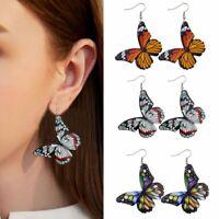 Wholesale Printing Butterfly Leather Earrings Hook Drop Dangle Women Jewelry Hot