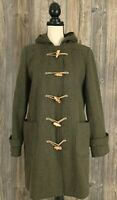 J Crew Coat Size Medium? Trench Green Heavy Wool Blend Toggle Front Thinsulate