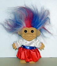 "RUSS  4"" TROLL DOLL: MY LUCKY TROLL FROM USA TRI-COLOR HAIR, GREAT CONDITION"