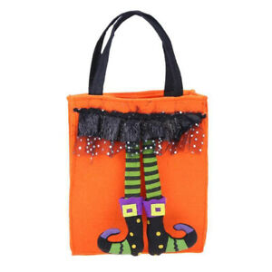 Halloween Elf Trick Treat Tote Kids Party Candy Gift Bag Cloth Portable Pouch F3