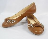 Nine West MAUDISA Brown Leather Flats Size 9 M NIB Crystal Embellishments