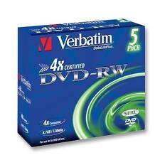 DVD-RW 4x JOYERO 5 unidades - óptico - Virgen y memoria