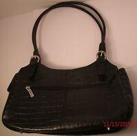 Maxx New York Large Black Croco-Leather Satchel Hobo Tote Purse Shoulder Bag