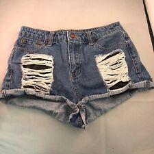Forever 21 Denim Booty Short Shorts Womens Size Medium Distressed