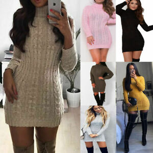 Womens ladies Thick Cable Knitted Polo Neck Jumper Dress UK best Quality