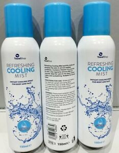 SUMMER Refreshing INSTANT Cooling MIST Spray For BODY&FACE 3X150ML Fan SUN TAN