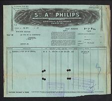 """PARIS (X°) ECLAIRAGE & RADIO """"Sté PHILIPS"""" en 1930"""