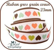 1M RUBAN GROS GRAIN BLANC MARRON COEUR MULTICOLORE SCRAPBOOKING COUTURE 23mm