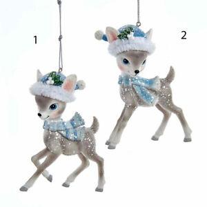 Grey Deer w/Santa Hat & Scarf Ornaments