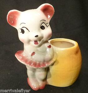 Antique Cactus Planter Baby Teddy Bear Ballerina Pottery Ceramic pot Japan 1930s